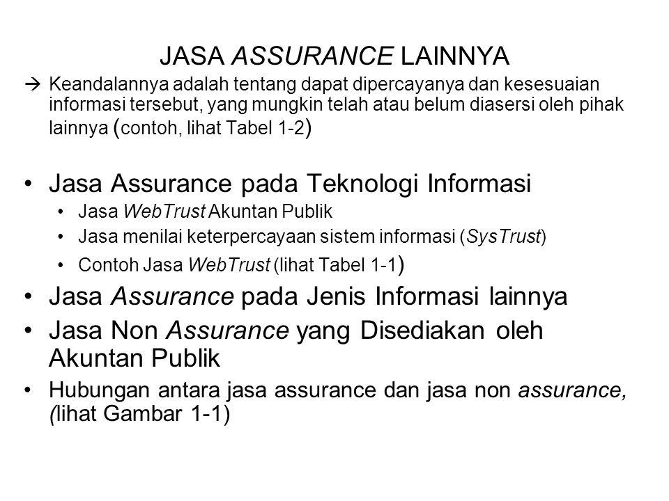 JASA ASSURANCE LAINNYA  Keandalannya adalah tentang dapat dipercayanya dan kesesuaian informasi tersebut, yang mungkin telah atau belum diasersi oleh pihak lainnya ( contoh, lihat Tabel 1-2 ) Jasa Assurance pada Teknologi Informasi Jasa WebTrust Akuntan Publik Jasa menilai keterpercayaan sistem informasi (SysTrust) Contoh Jasa WebTrust (lihat Tabel 1-1 ) Jasa Assurance pada Jenis Informasi lainnya Jasa Non Assurance yang Disediakan oleh Akuntan Publik Hubungan antara jasa assurance dan jasa non assurance, (lihat Gambar 1-1)