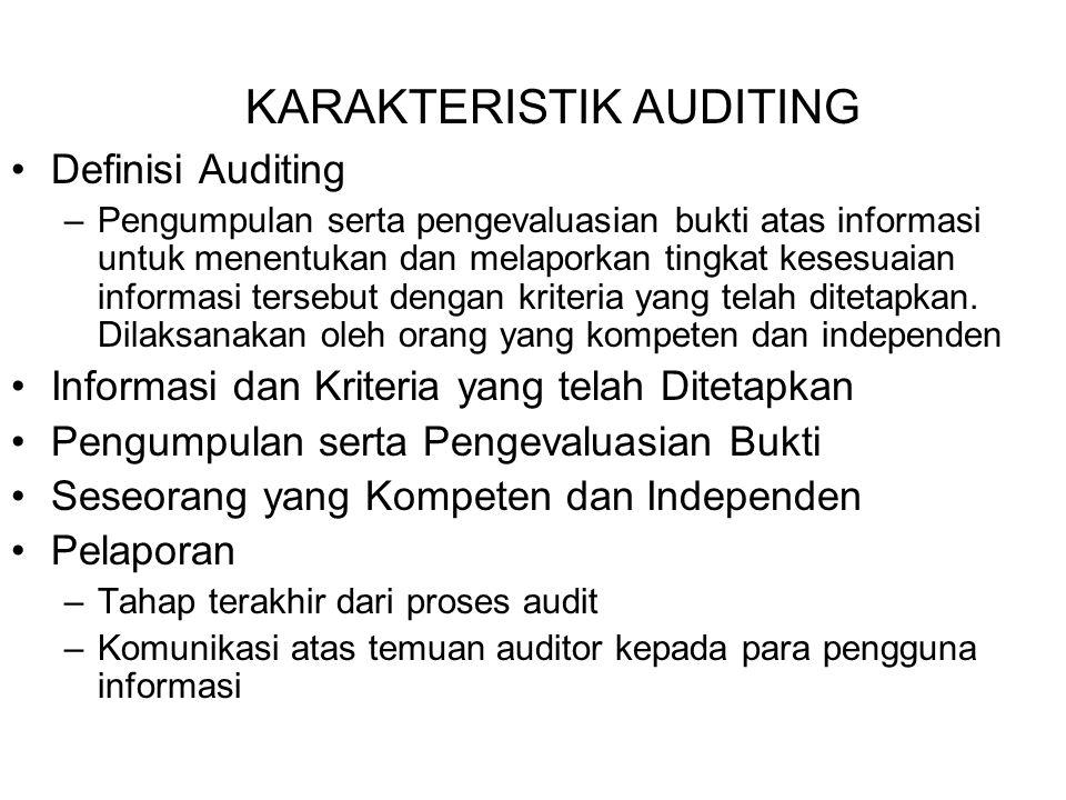 KARAKTERISTIK AUDITING Definisi Auditing –Pengumpulan serta pengevaluasian bukti atas informasi untuk menentukan dan melaporkan tingkat kesesuaian informasi tersebut dengan kriteria yang telah ditetapkan.