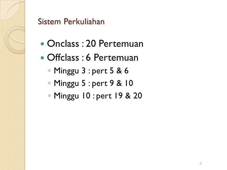 Sistem Perkuliahan Onclass : 20 Pertemuan Offclass : 6 Pertemuan ◦ Minggu 3 : pert 5 & 6 ◦ Minggu 5 : pert 9 & 10 ◦ Minggu 10 : pert 19 & 20 4