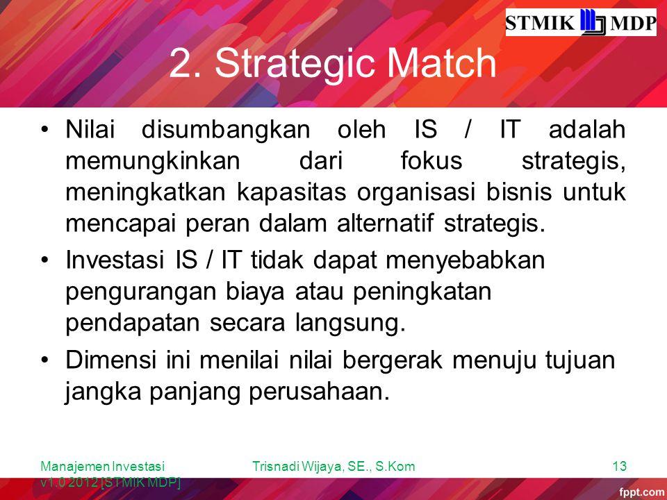 2. Strategic Match Nilai disumbangkan oleh IS / IT adalah memungkinkan dari fokus strategis, meningkatkan kapasitas organisasi bisnis untuk mencapai p