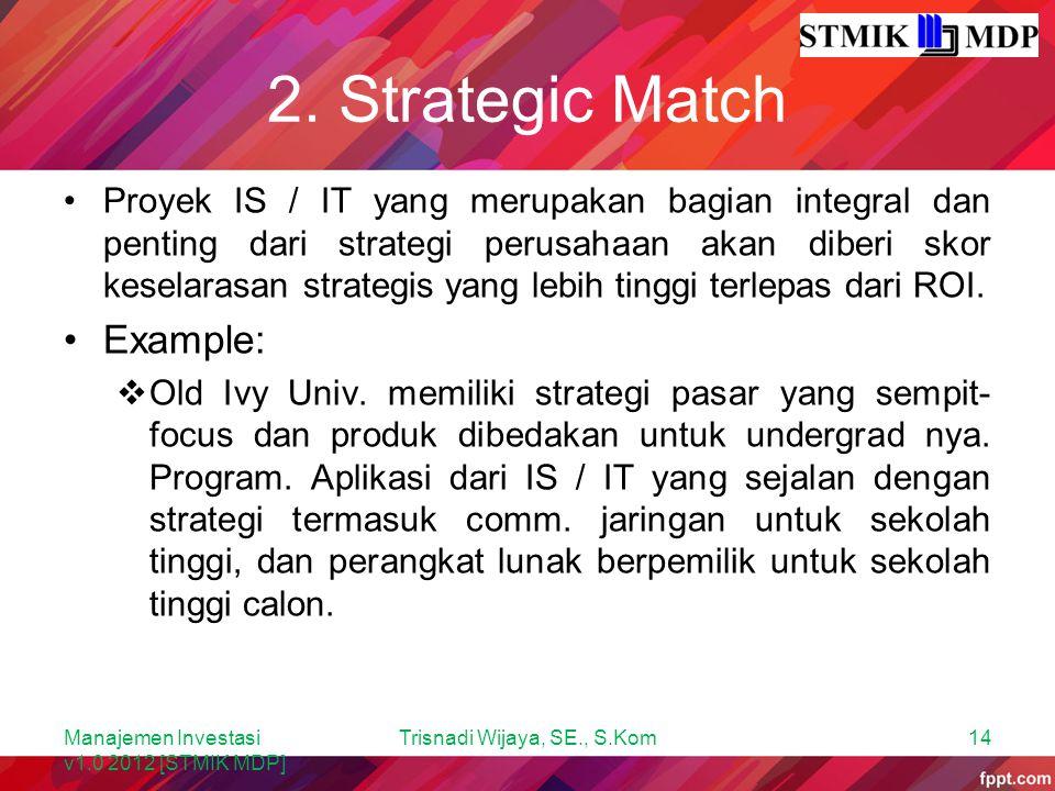 2. Strategic Match Proyek IS / IT yang merupakan bagian integral dan penting dari strategi perusahaan akan diberi skor keselarasan strategis yang lebi