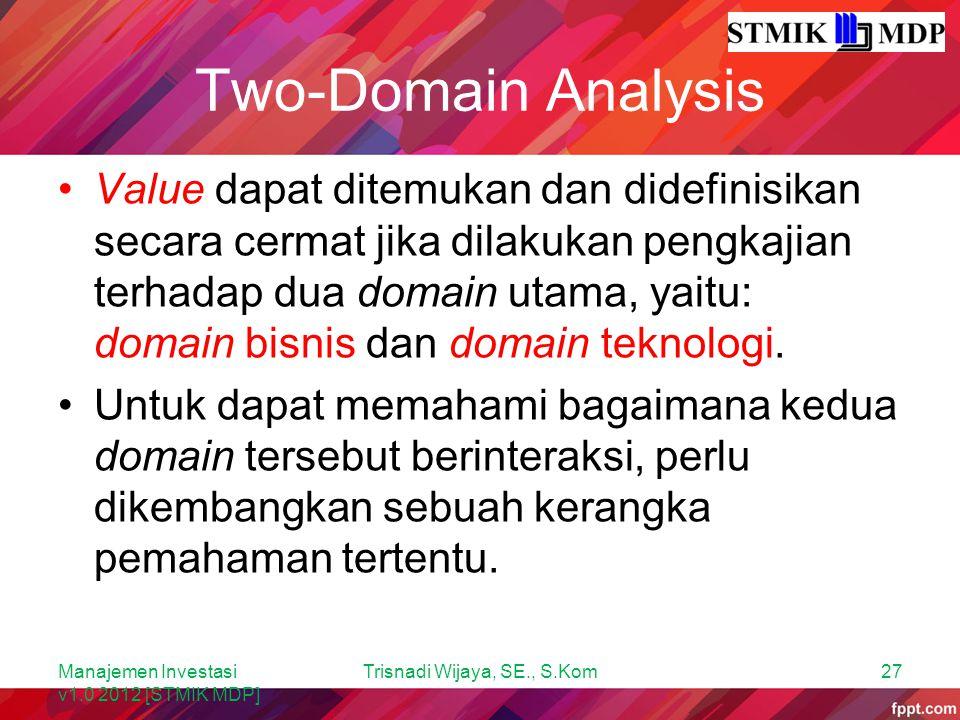 Two-Domain Analysis Value dapat ditemukan dan didefinisikan secara cermat jika dilakukan pengkajian terhadap dua domain utama, yaitu: domain bisnis da