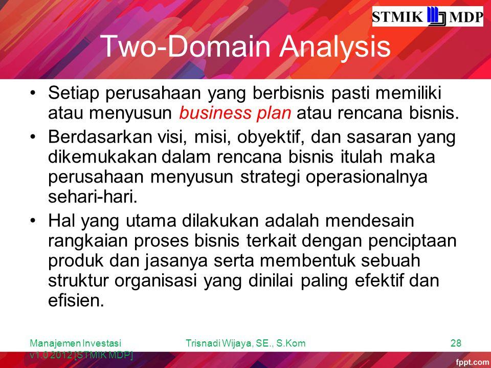 Two-Domain Analysis Setiap perusahaan yang berbisnis pasti memiliki atau menyusun business plan atau rencana bisnis. Berdasarkan visi, misi, obyektif,