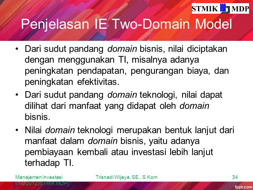 Penjelasan IE Two-Domain Model Dari sudut pandang domain bisnis, nilai diciptakan dengan menggunakan TI, misalnya adanya peningkatan pendapatan, pengu