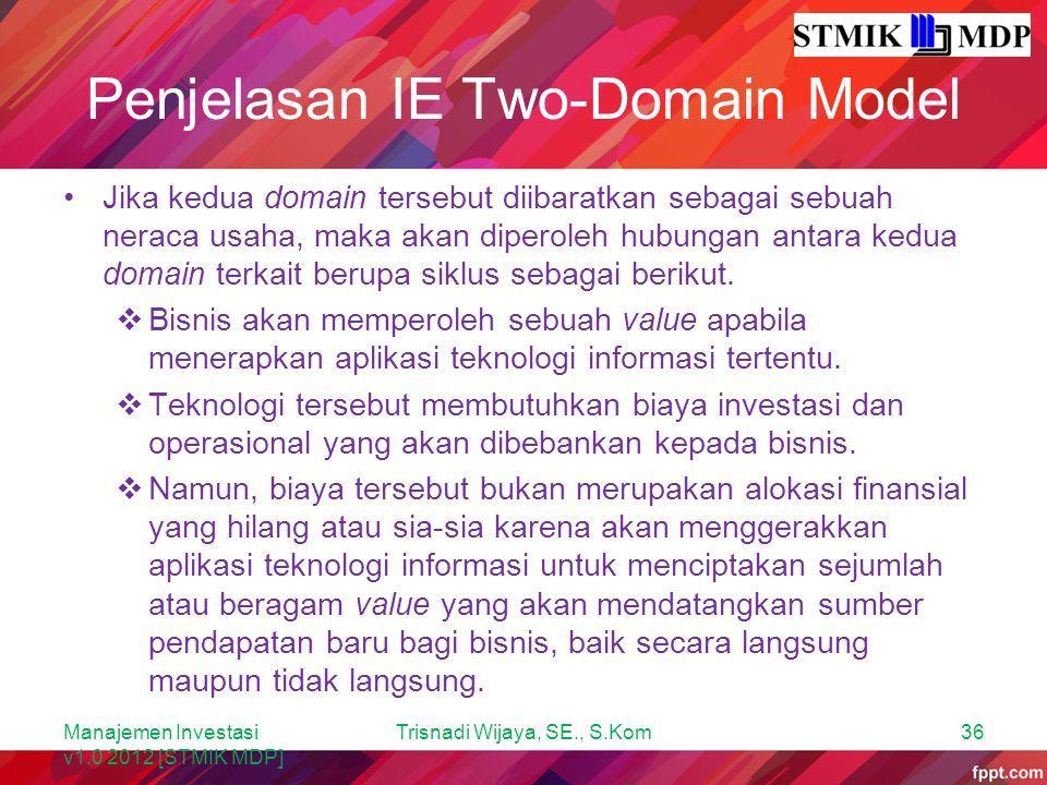 Penjelasan IE Two-Domain Model Jika kedua domain tersebut diibaratkan sebagai sebuah neraca usaha, maka akan diperoleh hubungan antara kedua domain te
