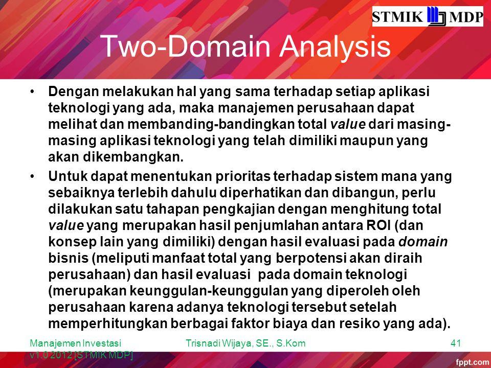 Two-Domain Analysis Dengan melakukan hal yang sama terhadap setiap aplikasi teknologi yang ada, maka manajemen perusahaan dapat melihat dan membanding