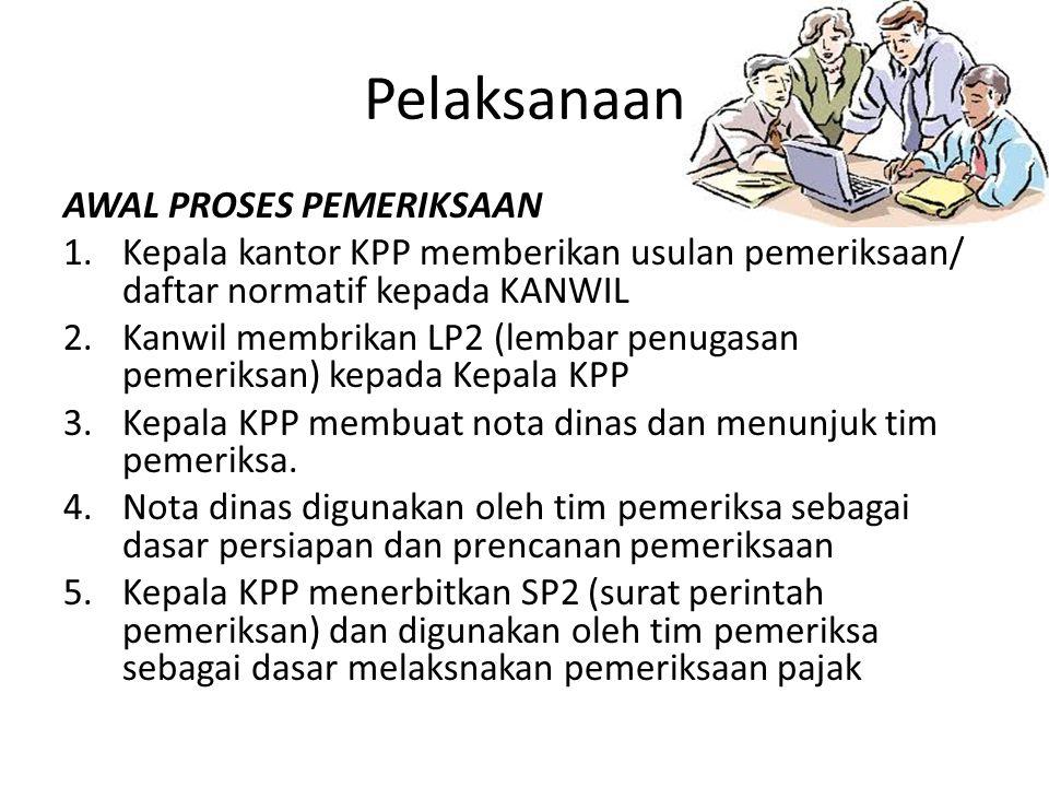 Pelaksanaan AWAL PROSES PEMERIKSAAN 1.Kepala kantor KPP memberikan usulan pemeriksaan/ daftar normatif kepada KANWIL 2.Kanwil membrikan LP2 (lembar pe