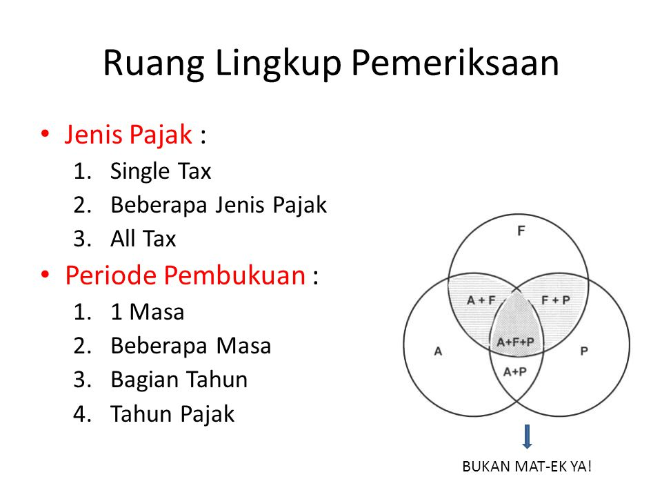 Ruang Lingkup Pemeriksaan Jenis Pajak : 1.Single Tax 2.Beberapa Jenis Pajak 3.All Tax Periode Pembukuan : 1.1 Masa 2.Beberapa Masa 3.Bagian Tahun 4.Tahun Pajak BUKAN MAT-EK YA!