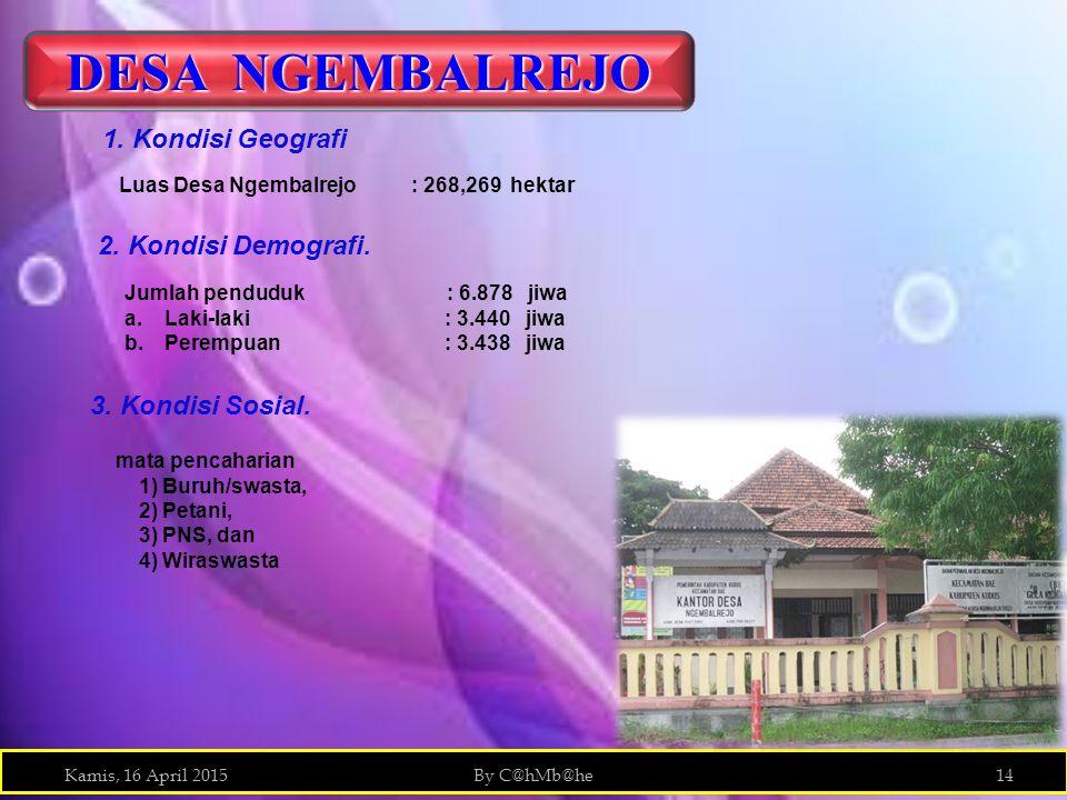Kamis, 16 April 2015By C@hMb@he14 DESA NGEMBALREJO Luas Desa Ngembalrejo : 268,269 hektar 2. Kondisi Demografi. Jumlah penduduk : 6.878 jiwa a.Laki-la