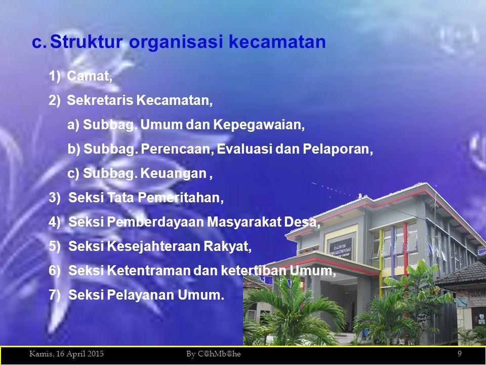 Kamis, 16 April 2015By C@hMb@he9 c.Struktur organisasi kecamatan 1)Camat, 2)Sekretaris Kecamatan, a) Subbag. Umum dan Kepegawaian, b) Subbag. Perencaa