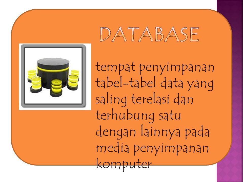 tempat penyimpanan tabel-tabel data yang saling terelasi dan terhubung satu dengan lainnya pada media penyimpanan komputer