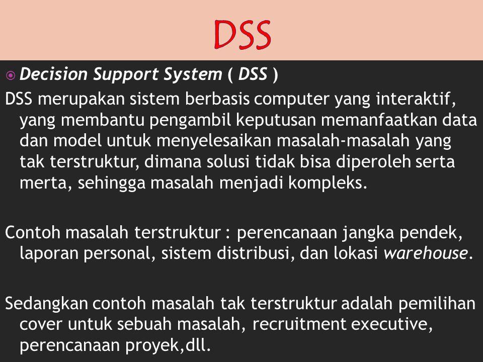  Decision Support System ( DSS ) DSS merupakan sistem berbasis computer yang interaktif, yang membantu pengambil keputusan memanfaatkan data dan mode