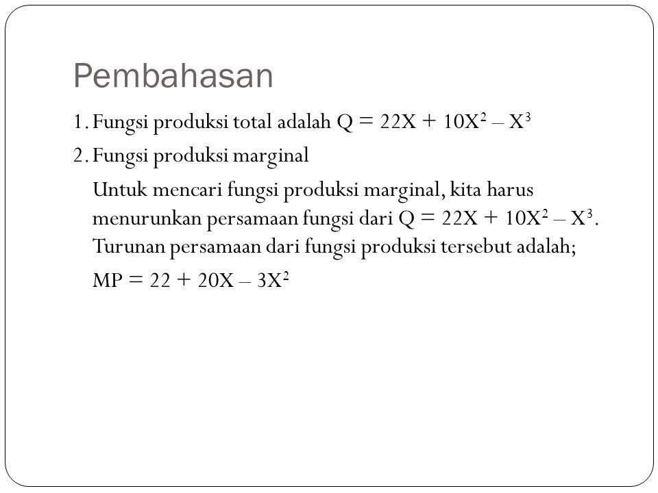 Pembahasan 1.Fungsi produksi total adalah Q = 22X + 10X 2 – X 3 2.Fungsi produksi marginal Untuk mencari fungsi produksi marginal, kita harus menurunkan persamaan fungsi dari Q = 22X + 10X 2 – X 3.