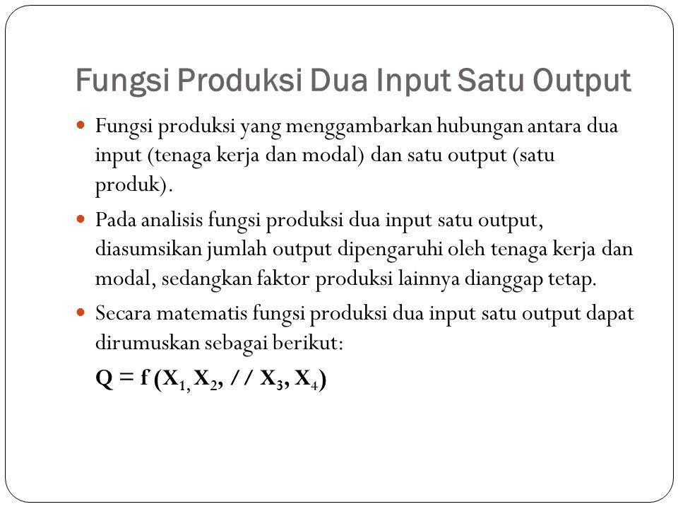 Fungsi Produksi Dua Input Satu Output Fungsi produksi yang menggambarkan hubungan antara dua input (tenaga kerja dan modal) dan satu output (satu produk).