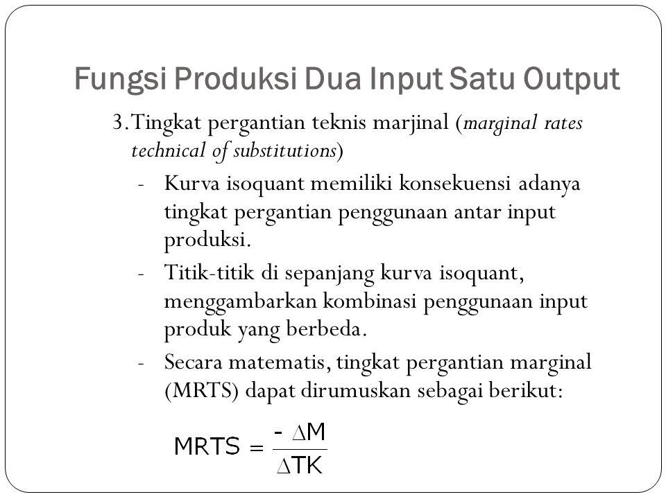 Fungsi Produksi Dua Input Satu Output 3.Tingkat pergantian teknis marjinal (marginal rates technical of substitutions) -Kurva isoquant memiliki konsekuensi adanya tingkat pergantian penggunaan antar input produksi.