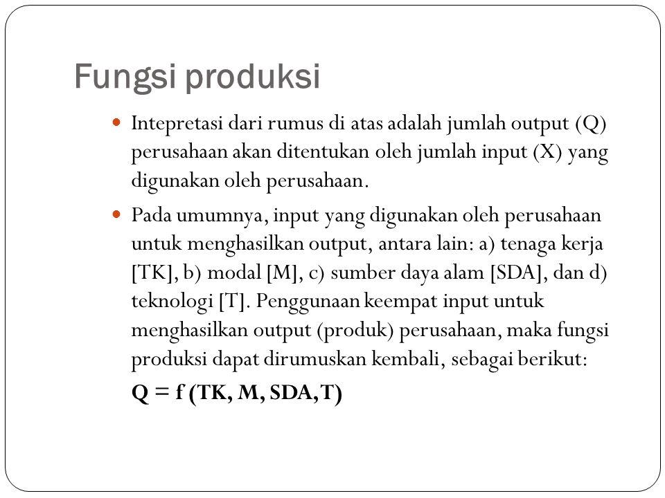 Fungsi produksi Intepretasi dari rumus di atas adalah jumlah output (Q) perusahaan akan ditentukan oleh jumlah input (X) yang digunakan oleh perusahaan.