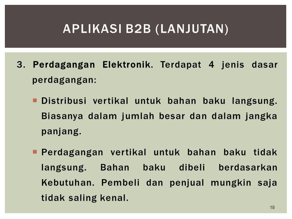 3. Perdagangan Elektronik. Terdapat 4 jenis dasar perdagangan:  Distribusi vertikal untuk bahan baku langsung. Biasanya dalam jumlah besar dan dalam