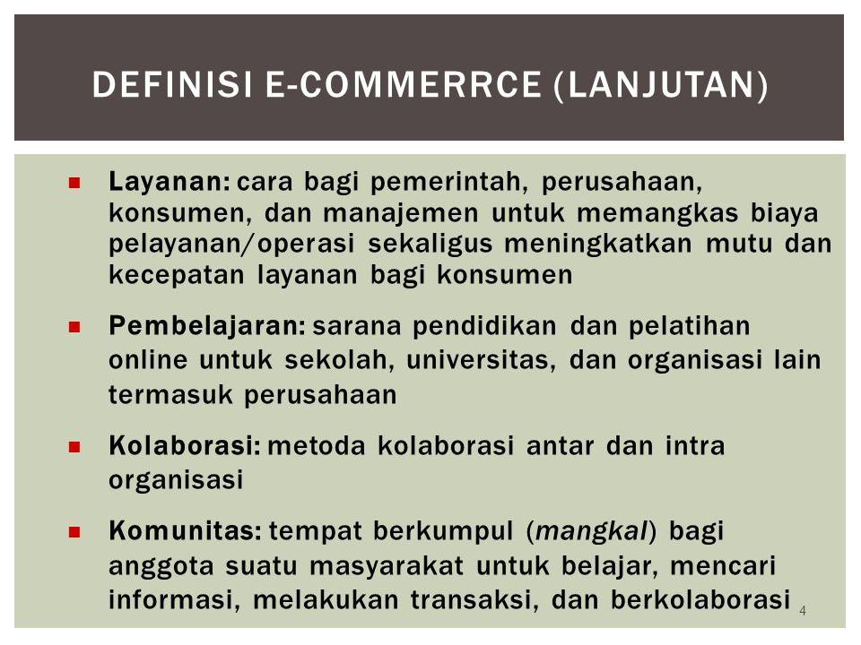 E-Commerce adalah semua aktivitas bisnis atau perdagangan, melalui media elektronik pada umumnya dan Internet pada khususnya.