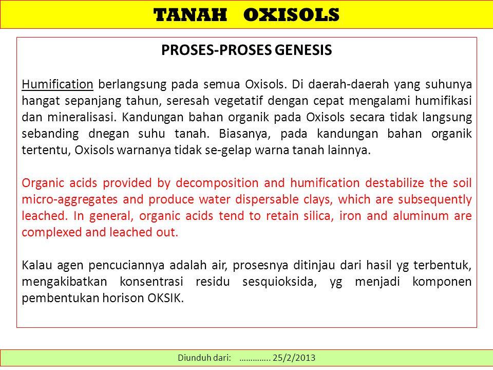 TANAH OXISOLS PROSES-PROSES GENESIS Humification berlangsung pada semua Oxisols.