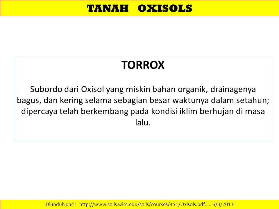 TANAH OXISOLS Diunduh dari: http://www.soils.wisc.edu/soils/courses/451/Oxisols.pdf…..