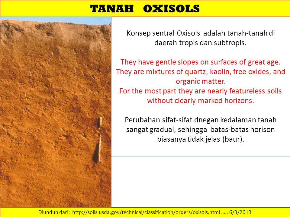 TANAH OXISOLS Diunduh dari: http://soils.usda.gov/technical/classification/orders/oxisols.html …..