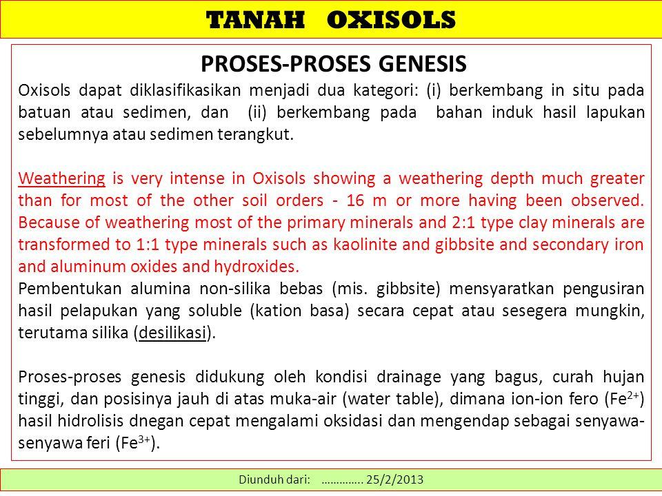TANAH OXISOLS PROSES-PROSES GENESIS Oxisols dapat diklasifikasikan menjadi dua kategori: (i) berkembang in situ pada batuan atau sedimen, dan (ii) berkembang pada bahan induk hasil lapukan sebelumnya atau sedimen terangkut.