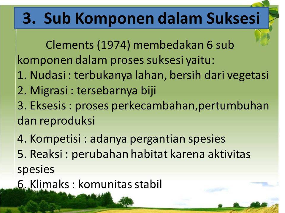 Clements (1974) membedakan 6 sub komponen dalam proses suksesi yaitu: 1. Nudasi : terbukanya lahan, bersih dari vegetasi 2. Migrasi : tersebarnya biji