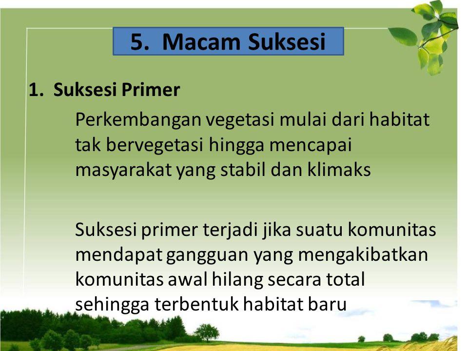 1. Suksesi Primer Perkembangan vegetasi mulai dari habitat tak bervegetasi hingga mencapai masyarakat yang stabil dan klimaks Suksesi primer terjadi j