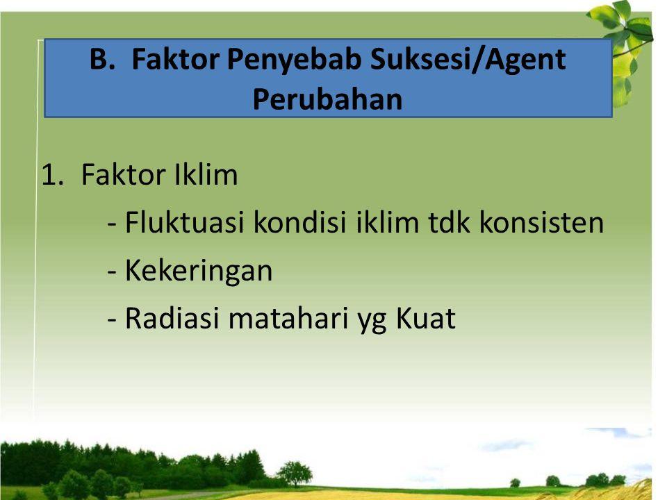 1. Faktor Iklim - Fluktuasi kondisi iklim tdk konsisten - Kekeringan - Radiasi matahari yg Kuat B. Faktor Penyebab Suksesi/Agent Perubahan
