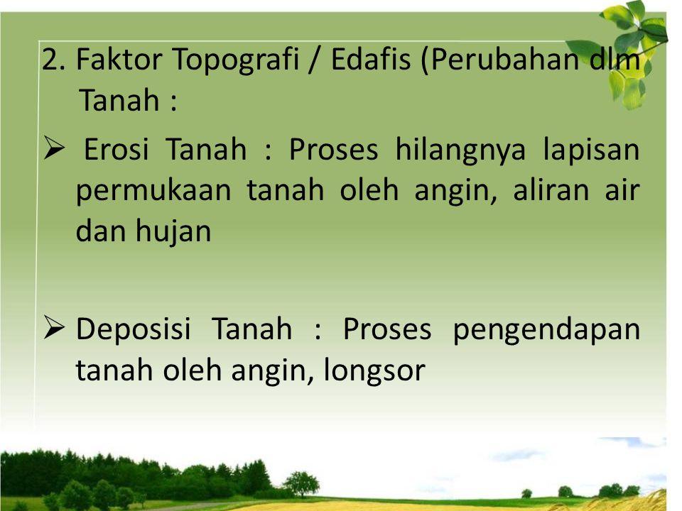 2.Faktor Topografi / Edafis (Perubahan dlm Tanah :  Erosi Tanah : Proses hilangnya lapisan permukaan tanah oleh angin, aliran air dan hujan  Deposis