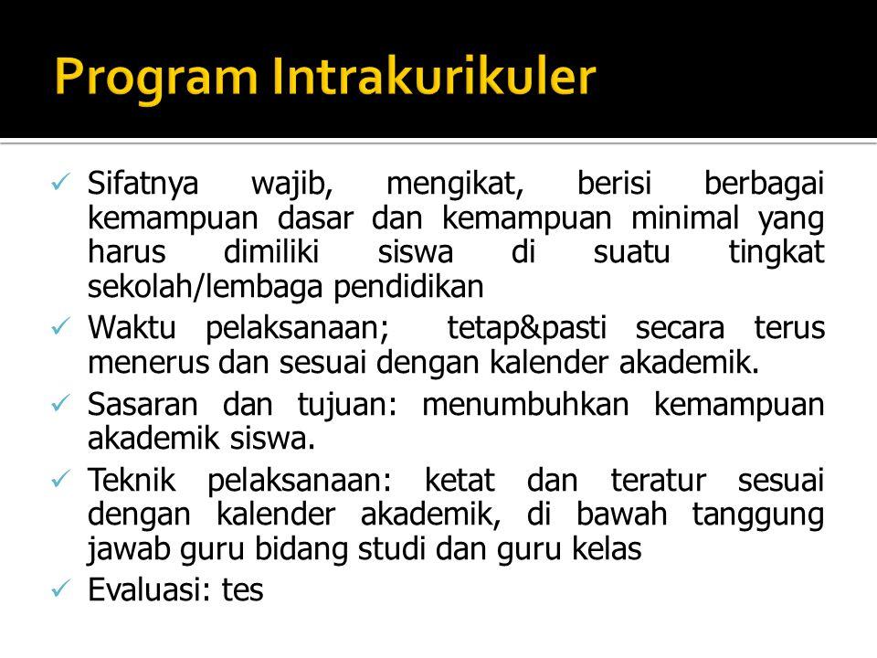 Sifatnya sebagai kegiatan penunjang untuk mencapai program kurikuler.