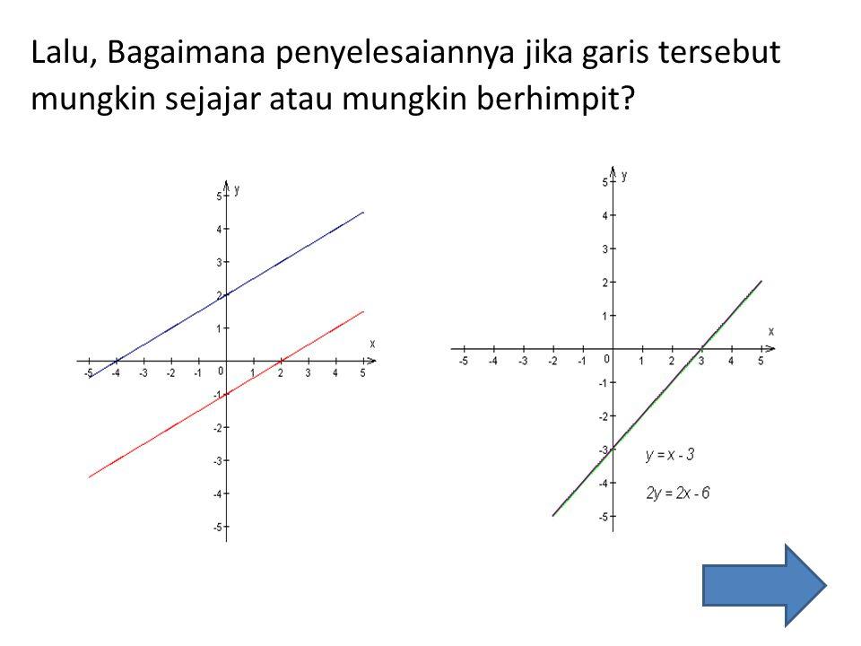 Lalu, Bagaimana penyelesaiannya jika garis tersebut mungkin sejajar atau mungkin berhimpit?