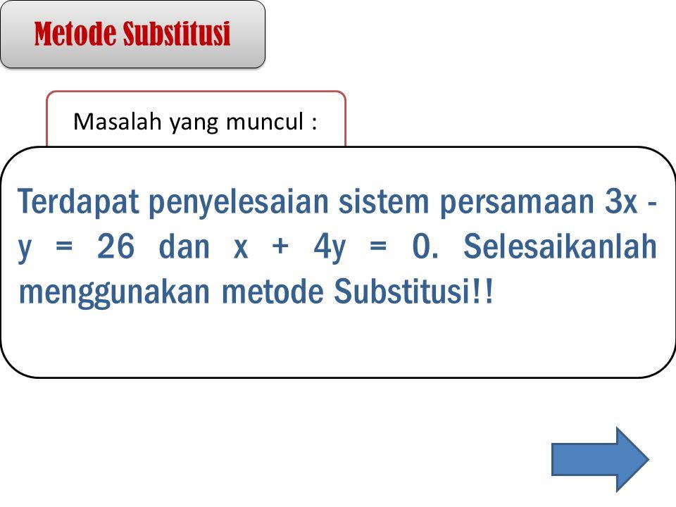 Metode Substitusi Masalah yang muncul : Terdapat penyelesaian sistem persamaan 3x - y = 26 dan x + 4y = 0. Selesaikanlah menggunakan metode Substitusi