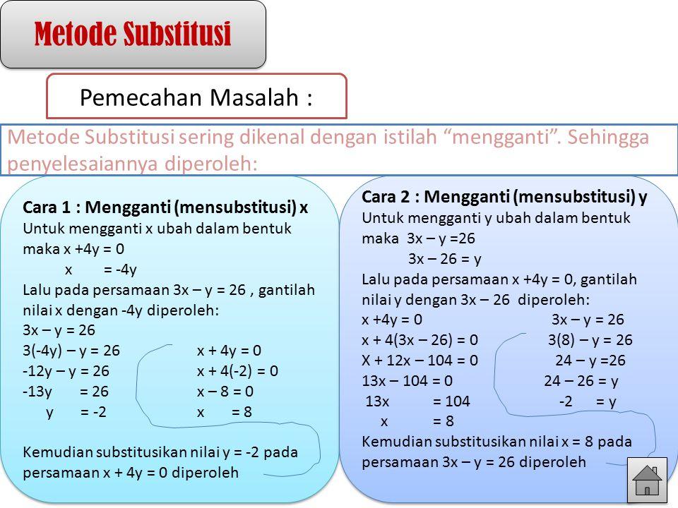 Metode Substitusi Pemecahan Masalah : Cara 1 : Mengganti (mensubstitusi) x Untuk mengganti x ubah dalam bentuk maka x +4y = 0 x = -4y Lalu pada persam