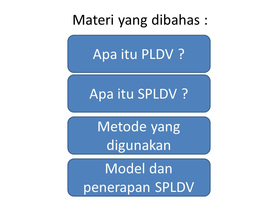 Apa itu PLDV ? Materi yang dibahas : Apa itu SPLDV ? Metode yang digunakan Model dan penerapan SPLDV