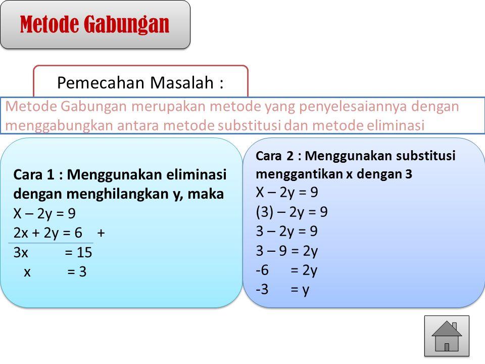 Metode Gabungan Pemecahan Masalah : Cara 1 : Menggunakan eliminasi dengan menghilangkan y, maka X – 2y = 9 2x + 2y = 6 + 3x = 15 x = 3 Cara 1 : Menggu