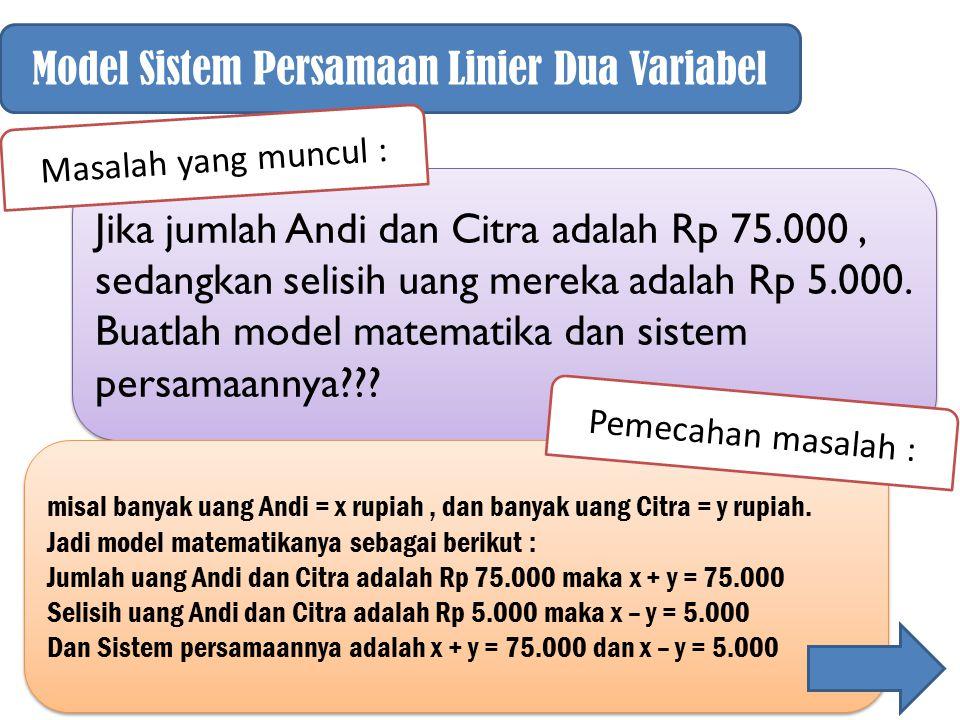 Model Sistem Persamaan Linier Dua Variabel Jika jumlah Andi dan Citra adalah Rp 75.000, sedangkan selisih uang mereka adalah Rp 5.000. Buatlah model m