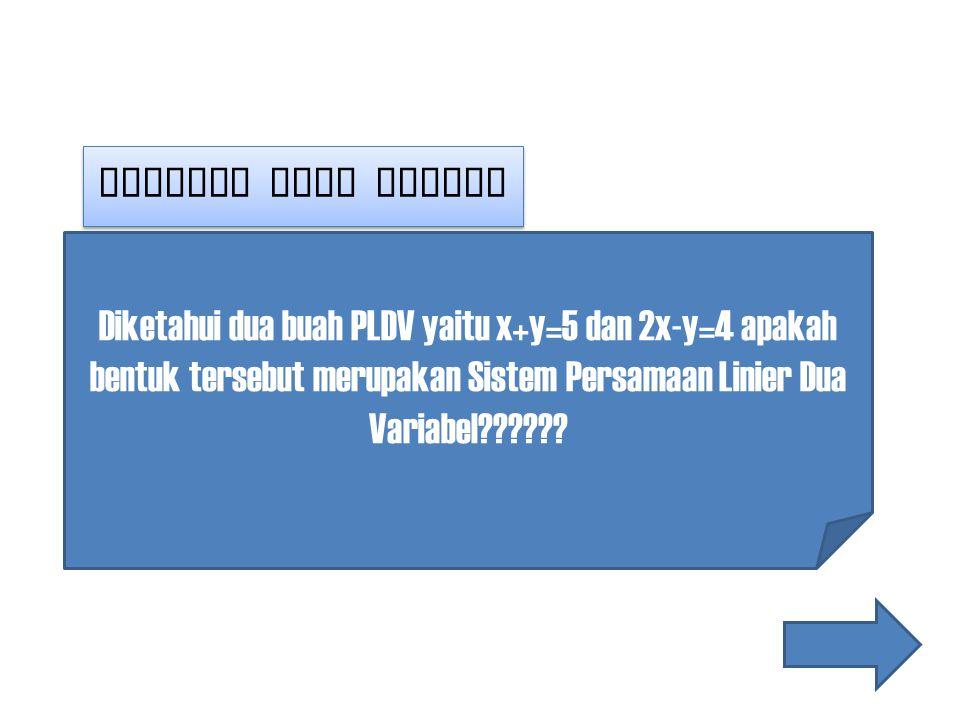 Masalah yang muncul Diketahui dua buah PLDV yaitu x+y=5 dan 2x-y=4 apakah bentuk tersebut merupakan Sistem Persamaan Linier Dua Variabel??????