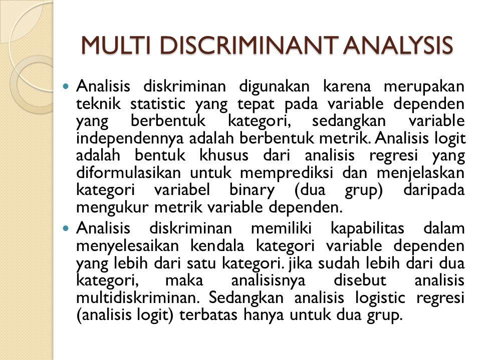 MULTI DISCRIMINANT ANALYSIS Analisis diskriminan digunakan karena merupakan teknik statistic yang tepat pada variable dependen yang berbentuk kategori, sedangkan variable independennya adalah berbentuk metrik.