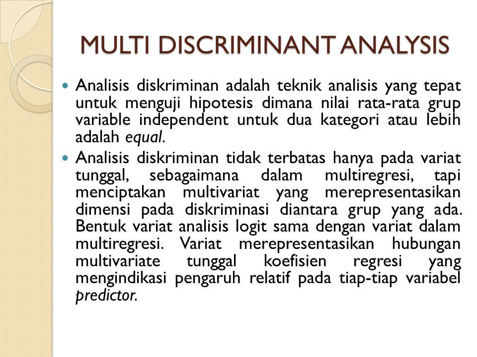 MULTI DISCRIMINANT ANALYSIS Analisis diskriminan adalah teknik analisis yang tepat untuk menguji hipotesis dimana nilai rata-rata grup variable independent untuk dua kategori atau lebih adalah equal.
