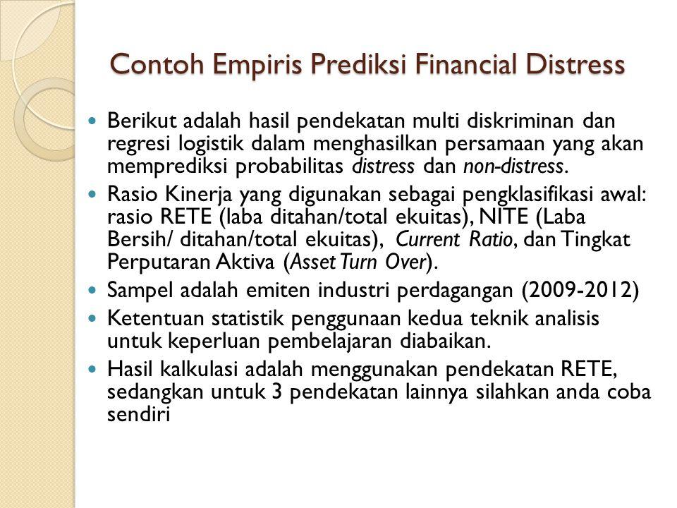 Contoh Empiris Prediksi Financial Distress Berikut adalah hasil pendekatan multi diskriminan dan regresi logistik dalam menghasilkan persamaan yang akan memprediksi probabilitas distress dan non-distress.