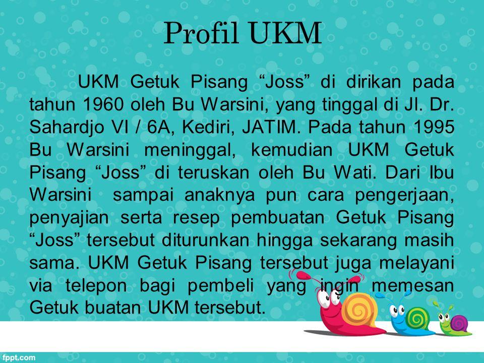 "Profil UKM UKM Getuk Pisang ""Joss"" di dirikan pada tahun 1960 oleh Bu Warsini, yang tinggal di Jl. Dr. Sahardjo VI / 6A, Kediri, JATIM. Pada tahun 199"