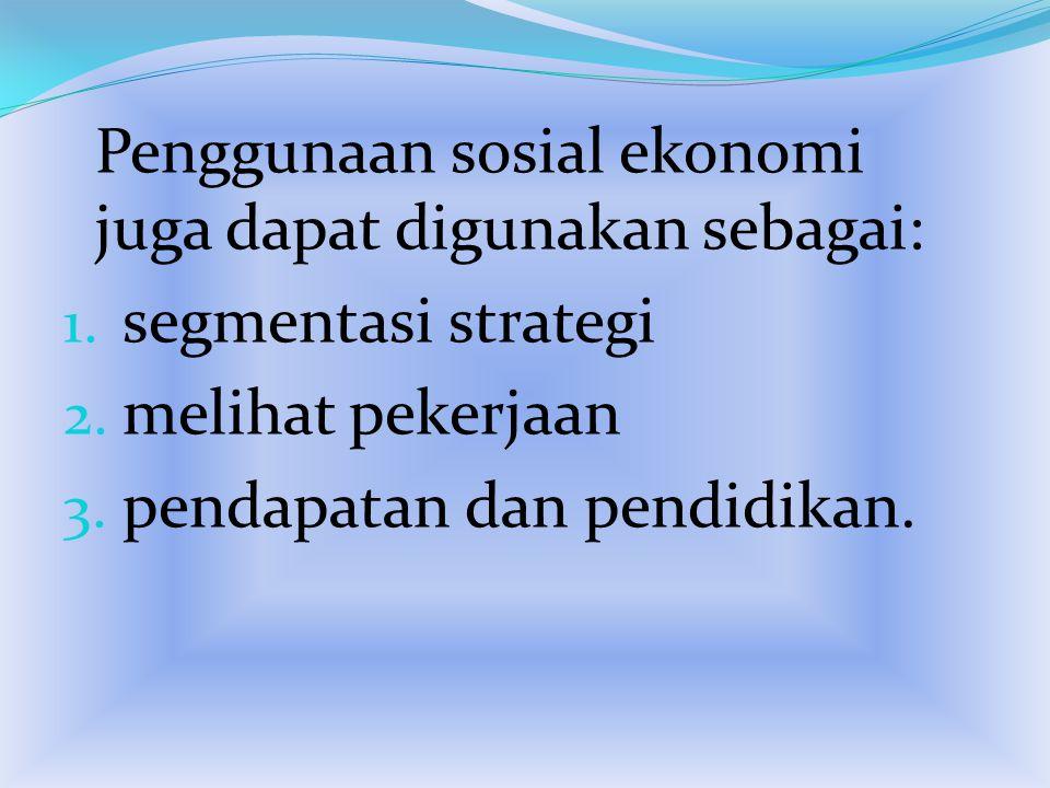 Penggunaan sosial ekonomi juga dapat digunakan sebagai: 1. segmentasi strategi 2. melihat pekerjaan 3. pendapatan dan pendidikan.