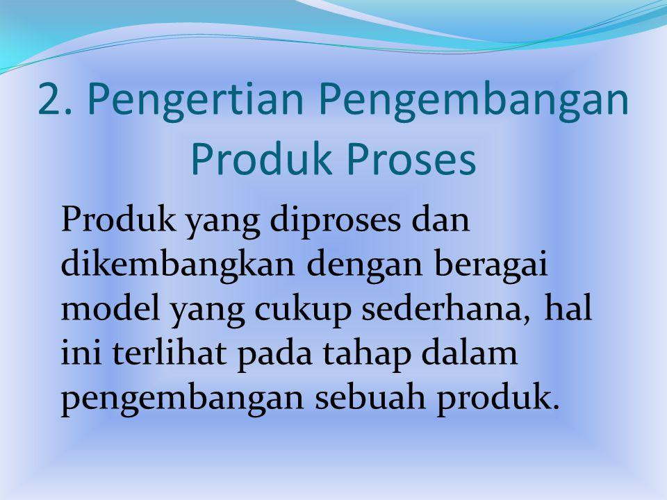 2. Pengertian Pengembangan Produk Proses Produk yang diproses dan dikembangkan dengan beragai model yang cukup sederhana, hal ini terlihat pada tahap