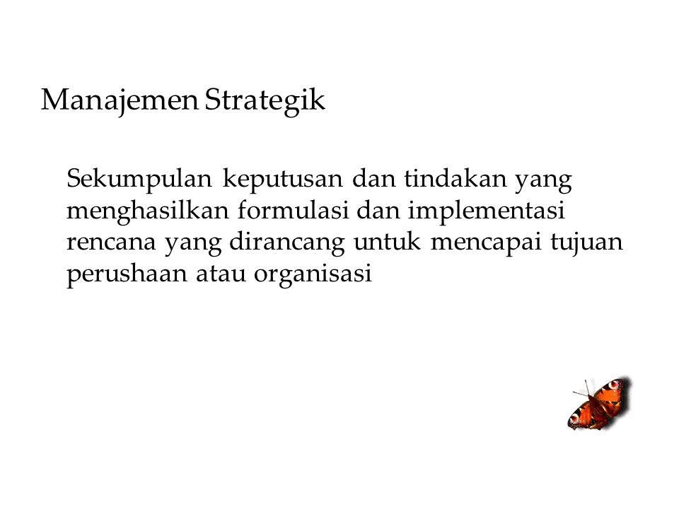 Manajemen Strategik Sekumpulan keputusan dan tindakan yang menghasilkan formulasi dan implementasi rencana yang dirancang untuk mencapai tujuan perush