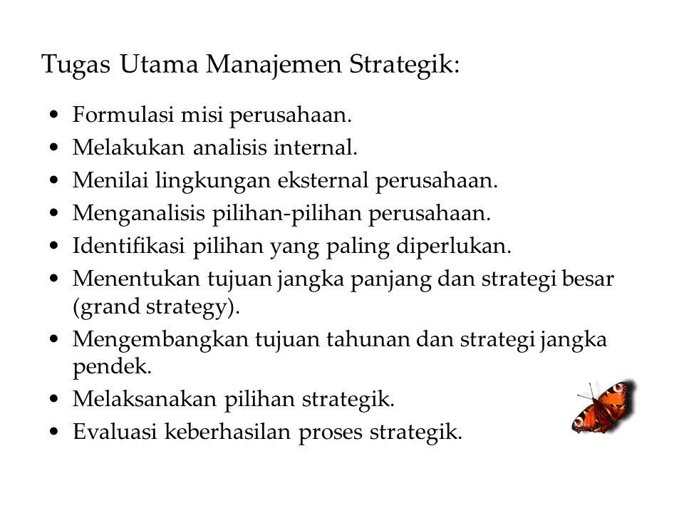 Tugas Utama Manajemen Strategik: Formulasi misi perusahaan. Melakukan analisis internal. Menilai lingkungan eksternal perusahaan. Menganalisis pilihan