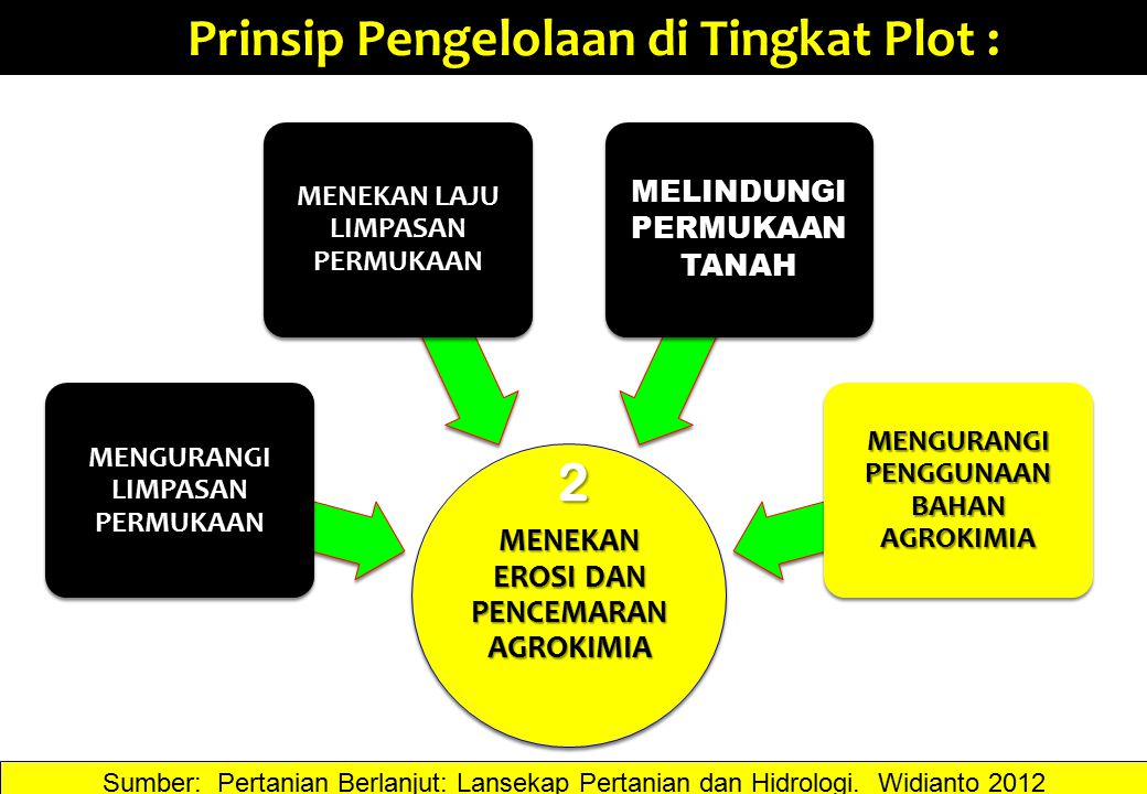 Prinsip Pengelolaan di Tingkat Plot : 2 Sumber: Pertanian Berlanjut: Lansekap Pertanian dan Hidrologi. Widianto 2012