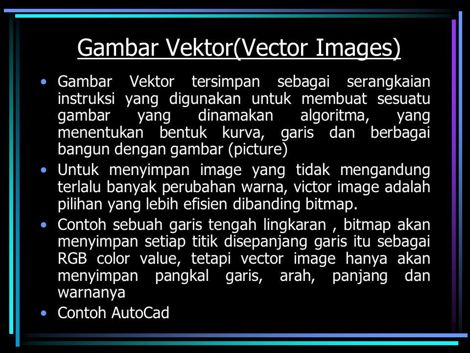 Gambar Vektor(Vector Images) Gambar Vektor tersimpan sebagai serangkaian instruksi yang digunakan untuk membuat sesuatu gambar yang dinamakan algoritm