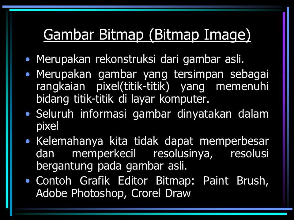 Gambar Bitmap (Bitmap Image) Merupakan rekonstruksi dari gambar asli. Merupakan gambar yang tersimpan sebagai rangkaian pixel(titik-titik) yang memenu