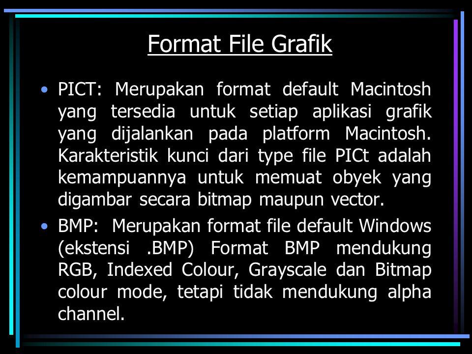 Format File Grafik PICT: Merupakan format default Macintosh yang tersedia untuk setiap aplikasi grafik yang dijalankan pada platform Macintosh. Karakt